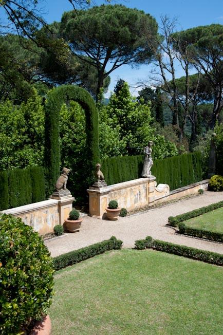 statues italian garden villa florence italy