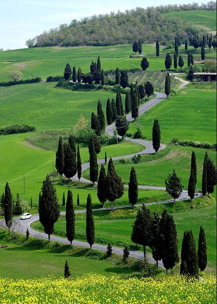 windy road monticiano siena crete senesi street tuscany